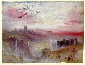 Turner - View over Town at Suset: a Cemetery in the Foreground