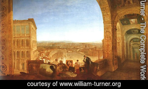 Turner - Rome from the Vatican (or Raffaelle accompanied by La Fornarina, preparing his pictures for the decoration of the Loggia)
