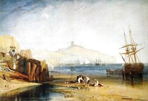 Scarborough Town and Castle: Morning: Boys Catching Crabs