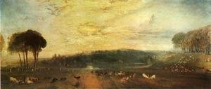 The Lake, Petworth: sunset, fighting bucks