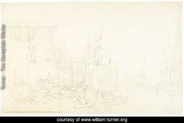 The Hurries, coal boats loading, North Shields, c.1795
