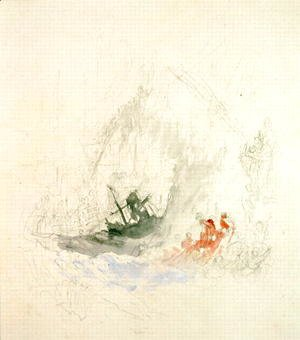 Turner - Fire at Sea, a design for a vignette, 1835