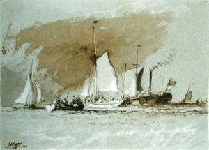 Turner - Fishing Boats at Sea, boarding a Steamer off the Isle of Wight