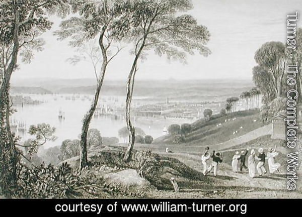 Turner - Plymouth Dock from Mount Edgecombe, from Cookes Picturesque Views of the Southern Coast of England engraved by William Bernard Cooke 1778-1855 1814-26