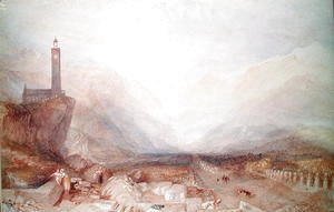 Turner - Mountain landscape with church