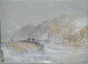 Turner - Foul by God River Landscape with Anglers Fishing from a Weir, c.1830