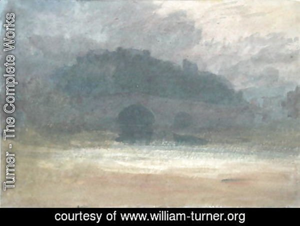 Turner - Evening Landscape with Castle and Bridge in Yorkshire, c.1798-99