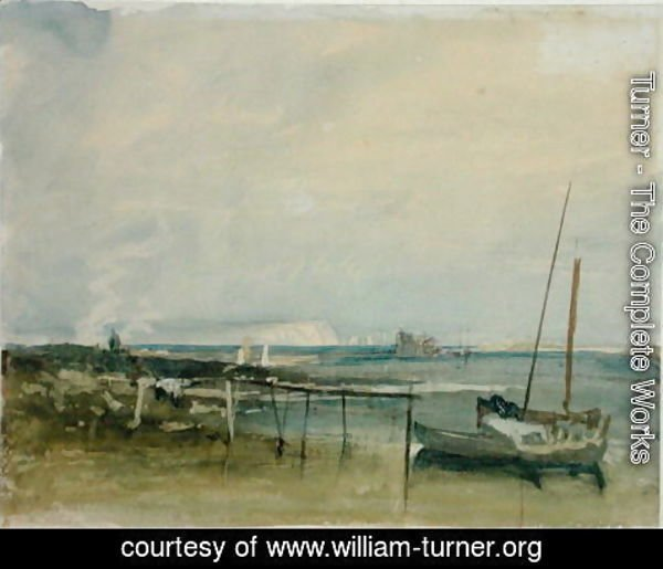Turner - Coast Scene with White Cliffs and Boats on Shore
