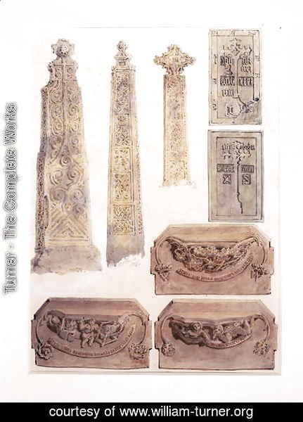 Eight Studies of crosses, brasses and misericords from Whalley Church, Whalley, Lancashire
