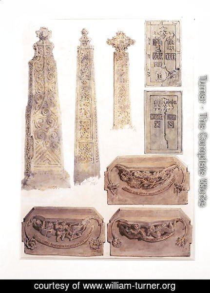 Turner - Eight Studies of crosses, brasses and misericords from Whalley Church, Whalley, Lancashire