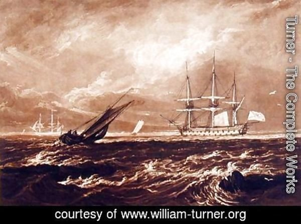 Turner - The Leader Sea Piece, engraved by Charles Turner 1773-1857 1859-61