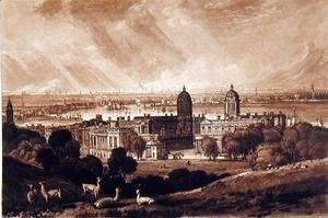Turner - London from Greenwich, engraved by Charles Turner 1773-1857 1811