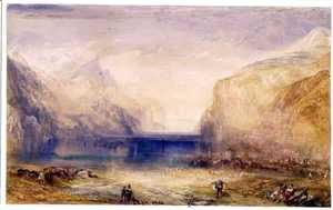 Turner - Fluelen Morning looking towards the lake 1845