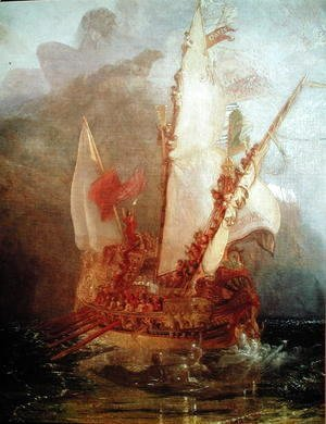 Turner - Ulysses Deriding Polyphemus, detail of ship, 1829