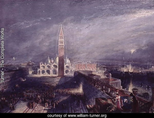 St. Marks Place, Venice Moonlight engraved by George Hollis 1792-1842 pub. 1881