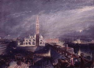 Turner - St. Marks Place, Venice Moonlight engraved by George Hollis 1792-1842 pub. 1881