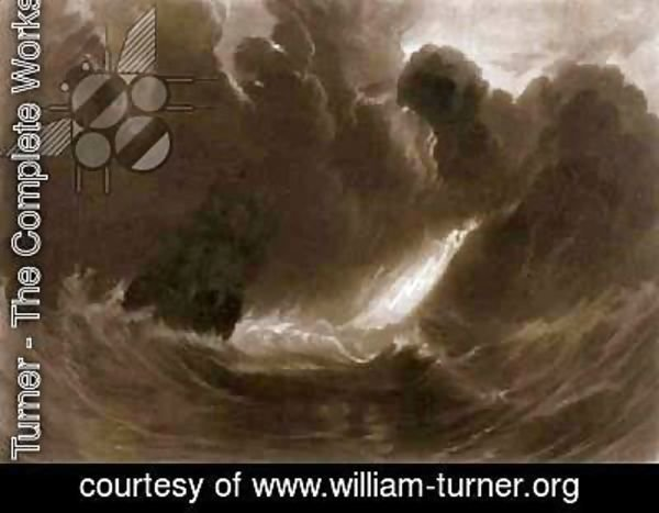 Turner - Ship in a Storm, from the Little Liber, engraved by the artist, c.1826