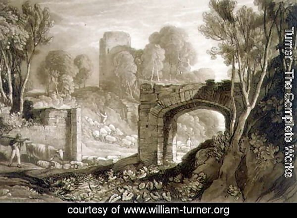 East Gate, Winchelsea, from the Liber Studiorum, engraved by Samuel William Reynolds, 1819