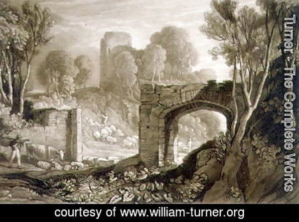 Turner - East Gate, Winchelsea, from the Liber Studiorum, engraved by Samuel William Reynolds, 1819