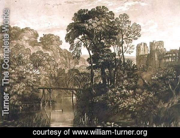 Turner - Berry Pomeroy Castle, from the Liber Studiorum, engraved by the artist, 1816