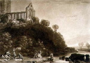 Turner - Dumblain Abbey, from the Liber Studiorum, engraved by Thomas Lupton, 1816
