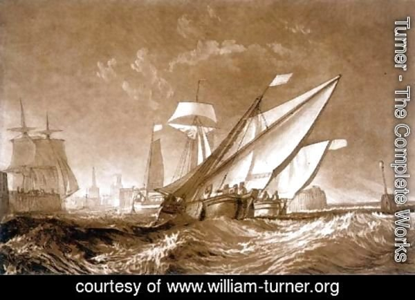 Turner - Entrance to Calais Harbour, from the Liber Studiorum, engraved by the artist, 1816