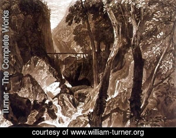 Turner - Mill near the Grand Chartreuse, from the Liber Studiorum, engraved by Henry Dawe, 1816