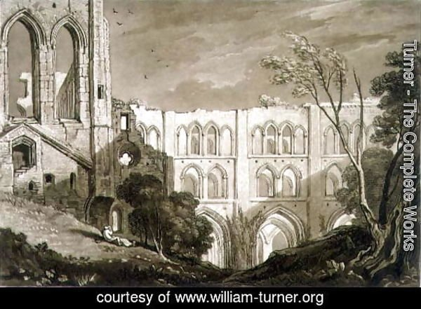Rivaulx Abbey, from the Liber Studiorum, engraved by Henry Dawe, 1812