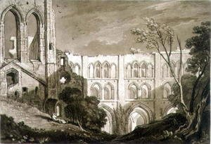 Turner - Rivaulx Abbey, from the Liber Studiorum, engraved by Henry Dawe, 1812