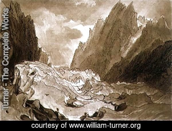 Turner - Mer de Glace, Valley of Chamouni, Savoy, from the Liber Studiorum, engraved by the artist, 1812