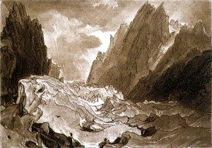 Mer de Glace, Valley of Chamouni, Savoy, from the Liber Studiorum, engraved by the artist, 1812