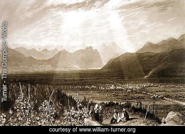 Chain of Alps from Grenoble to Chamberi, from the Liber Studiorum, engraved by William Say, 1812