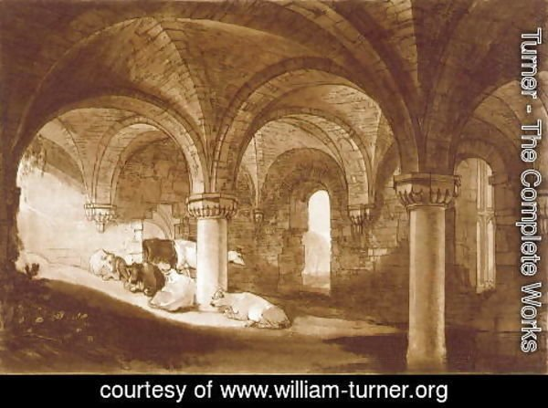 Turner - The Crypt of Kirkstall Abbey, from the Liber Studiorum, 1812