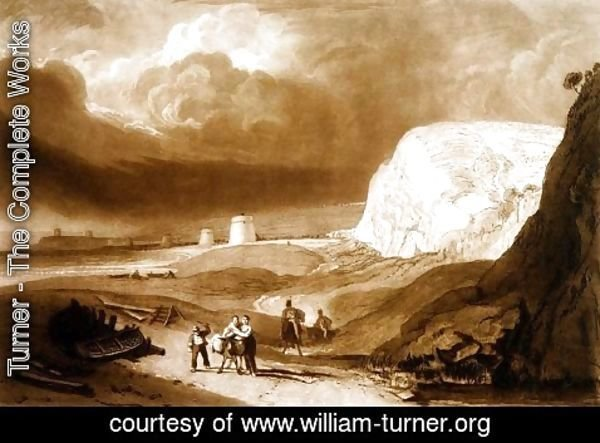 Turner - Martello Towers near Bexhill, Sussex, from the Liber Studiorum, engraved by William Say, 1811