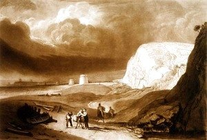 Martello Towers near Bexhill, Sussex, from the Liber Studiorum, engraved by William Say, 1811