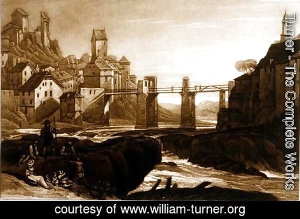 Turner - Lauffenbourgh on the Rhine, from the Liber Studiorum, engraved by T. Hodgetts, 1811