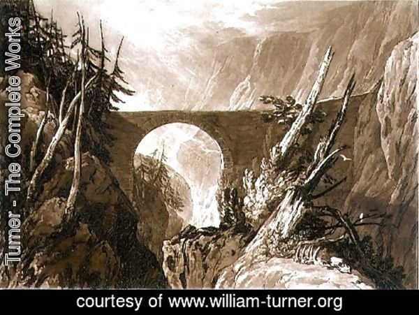 Turner - Little Devil's Bridge, from the Liber Studiorum, engraved by Charles Turner, 1809