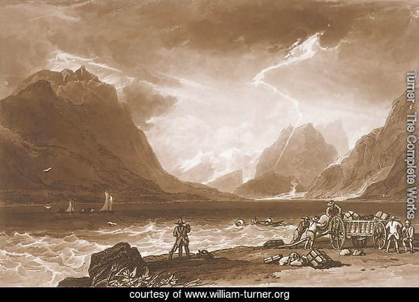 Lake of Thun, from the Liber Studiorum, engraved by Charles Turner, 1808