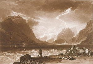 Turner - Lake of Thun, from the Liber Studiorum, engraved by Charles Turner, 1808