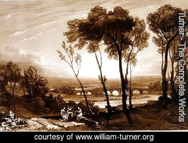 Turner - The Bridge in Middle Distance, from the Liber Studiorum, engraved by Charles Turner, 1808