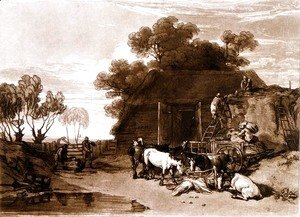 Turner - The Straw Yard, from the Liber Studiorum, engraved by Charles Turner, 1808