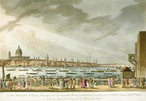 Lord Nelsons funeral procession by water from Greenwich to Whitehall from The History and Graphic Life of Nelson, engraved by J. Clark and H. Marke, pub. by Orme, 1806