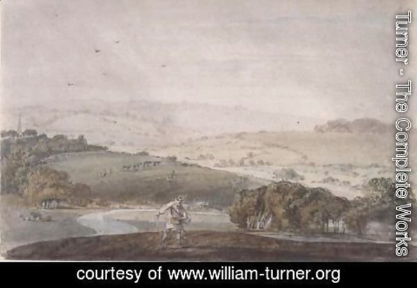 Turner - A Farmer Sowing, with a River Valley and Rolling Hills Beyond, c.1795