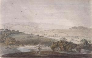 A Farmer Sowing, with a River Valley and Rolling Hills Beyond, c.1795