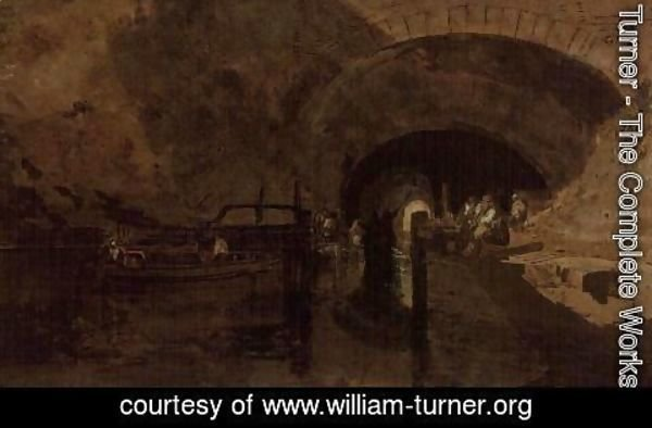Turner - Men and barges at tunnel entrance