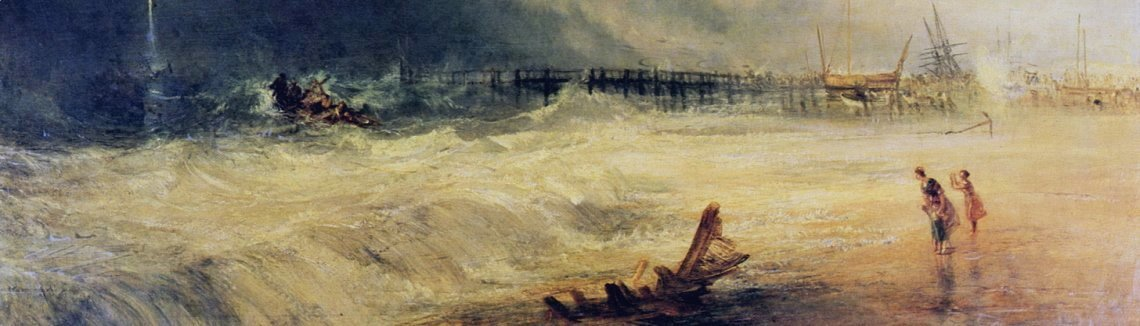Turner - Lifeboat and Manby Apparatus going off to a stranded vessel making signal blue lights of distress , c.1831
