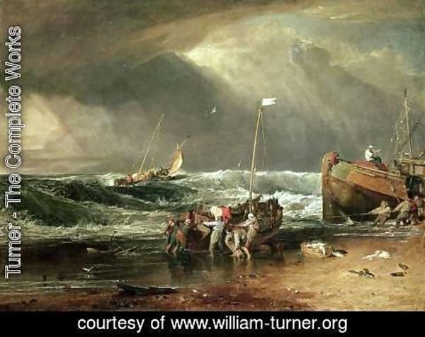 Turner - The Iveagh Seapiece, or Coast Scene of Fisherman Hauling a Boat Ashore