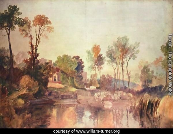 House at the river with trees and a sheep