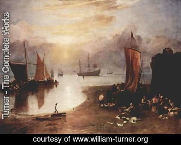 Turner - In the morning mist rising sun and fishermen, when cleaning the fish sale