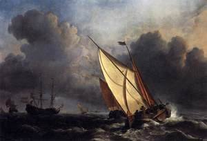 Dutch Fishing Boats in a Storm